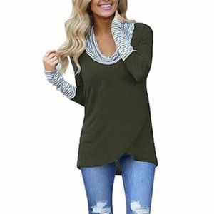 NWOT Olive Green Shelly Cowl Neck Top